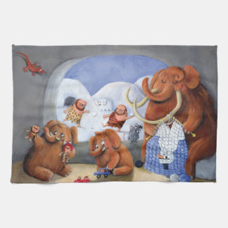 Woolly Mammoth Family in Ice Age Hand Towel