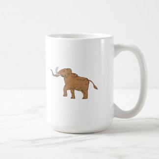 Woolly Mammoth Prancing Drawing Coffee Mug