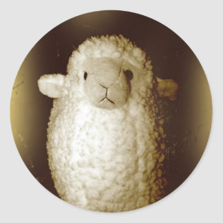 Wooly Fuzzy Sepia Lamb Classic Round Sticker