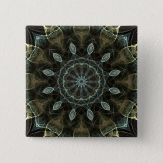 Wooly Green and Blue royal Kaleidoscope 2 Inch Square Button