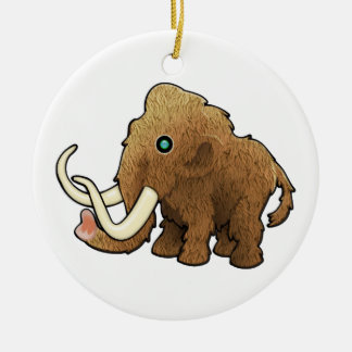 Wooly Mammoth Round Ceramic Ornament