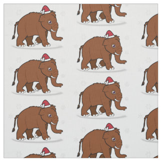 Wooly Mammoth with Santa Hat on Christmas Fabric