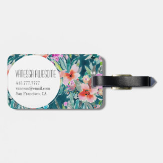 WOOT Colorful Tropical Floral Watercolor Bag Tag