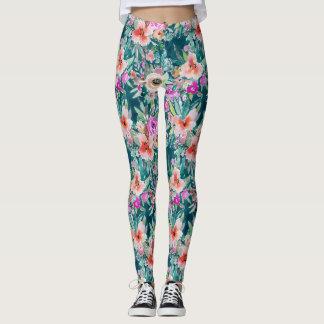 WOOT Colorful Tropical Floral Watercolor Leggings