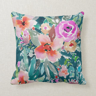 WOOT Tropical Floral Watercolor 2-SIDED Throw Pillow