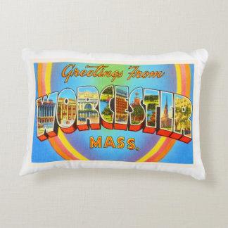 Worcester Massachusetts MA Vintage Travel Souvenir Decorative Pillow