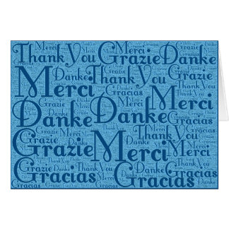 Word Art: Thank You in Multi Languages Aqua Blue 2 Card