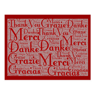Word Art: Thank You in Multi Languages - Red White Postcard