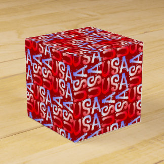 Word Art USA Text,Red-PARTY FAVOR BOX, sq Party Favor Box