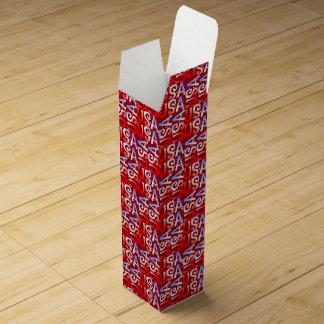Word Art USA Text,Red-WINE GIFT BOX Wine Gift Box