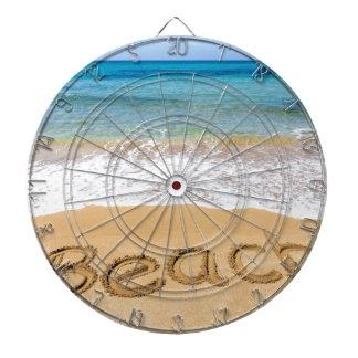 Word Beach written in sand at greek sea Dartboard