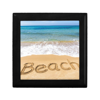 Word Beach written in sand at greek sea Gift Box