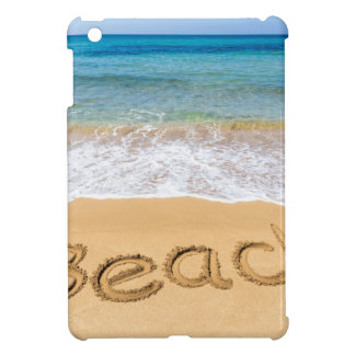 Word Beach written in sand at greek sea iPad Mini Covers