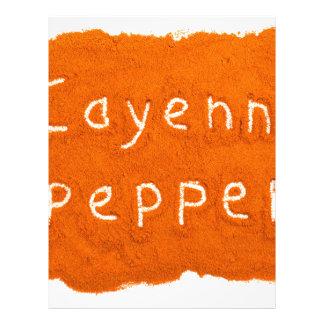 Word Cayenne pepper written in powder Letterhead
