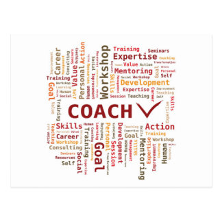 Word Cloud Coach Skills Expertise - Red Orange Postcard