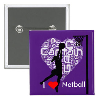 Word Cloud I Love Netball 2 Inch Square Button