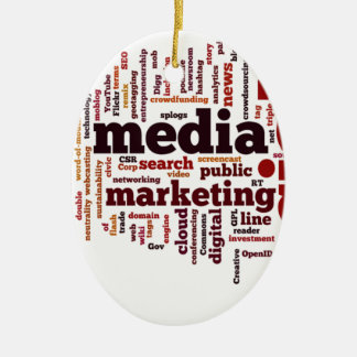 word-cloud Social Media Text Ceramic Ornament
