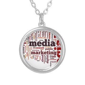 word-cloud Social Media Text Silver Plated Necklace