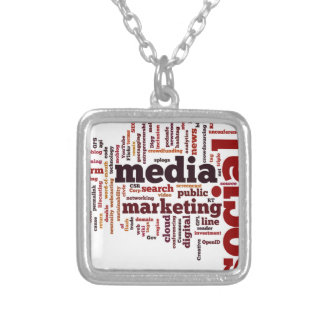 word-cloud Social Media Text Square Pendant Necklace