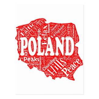 Word cloud with Polish terms in a shape of Poland Postcard