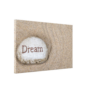 word Dream on beach rock Canvas Print