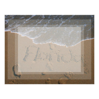 Word Florida in beach sand with wave coming Letterhead