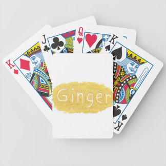 Word Ginger written in spice powder Bicycle Playing Cards