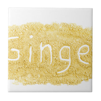 Word Ginger written in spice powder Tile
