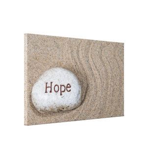 word Hope on beach rock Canvas Print