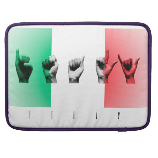 Word Italy over the italian flag Sleeve For MacBooks