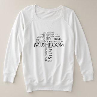 Word Mushroom Plus Size Sweatshirt (Black Text)