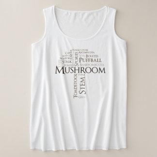 Word Mushroom Plus Size Tank Top (Brown Text)