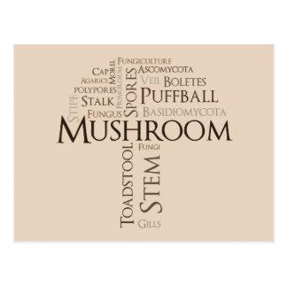 Word Mushroom Postcard (Brown Text)