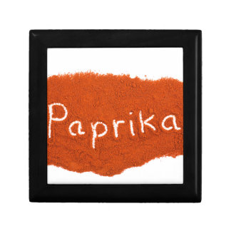 Word paprika written in paprika powder gift box