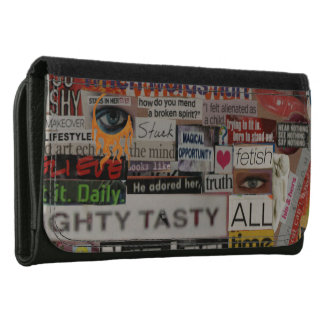 Word phrase clippings from word collage women's wallet