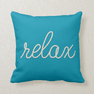 "word ""relax"" in rope design on aqua blue throw pillow"