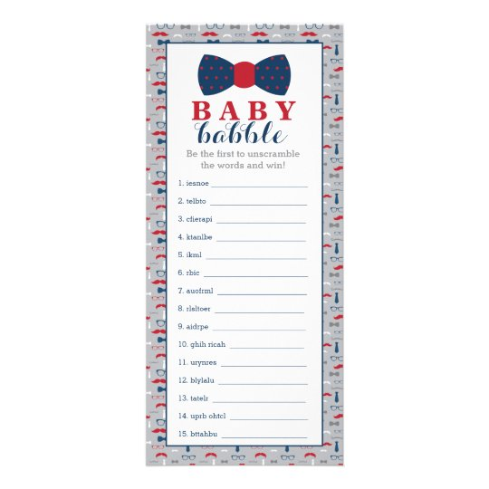 Word Scramble Game, Baby Shower Game, Little Man Rack Card