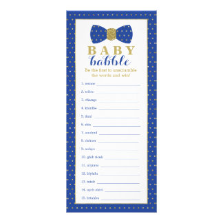 Word Scramble Game, Baby Shower Game, Little Man Rack Card