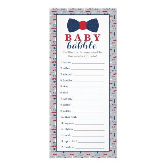 Word Scramble Game, Baby Shower Game, Little Man Rack Card Design