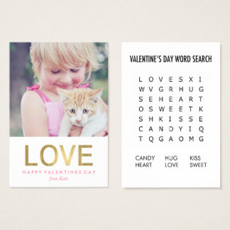 Word Search Game Photo Classroom Valentines Business Card