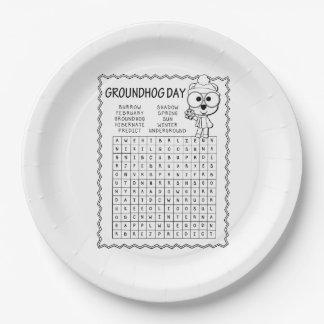 Word Search Groundhog Day Party Paper Plate
