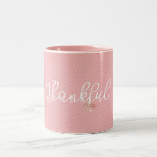 word thankful on pink embossed pattern Two-Tone coffee mug