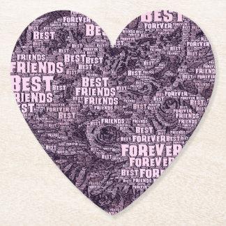 WordArt Best Friends forever Paper Coaster