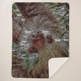 WordArt Sloth Sherpa Blanket