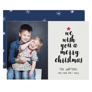 "Worded Christmas Tree Holiday Photo Card 5"" X 7"" Invitation Card"