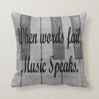 words fail piano music design throw pillow