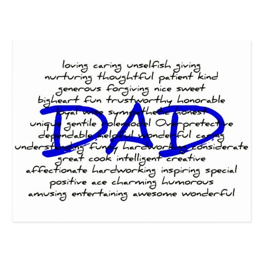 Words For Dad Post Card