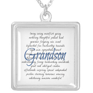 Words for Grandson Silver Plated Necklace
