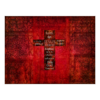 WORDS OF FAITH Modern Christian ART Poster