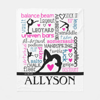 Words of Gymnastics Terminology w/ Monogram Fleece Blanket